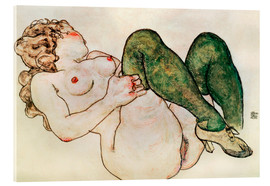 Stampa su vetro acrilico  Nude with green stockings - Egon Schiele