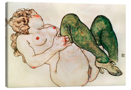 Tela  Nude with green stockings - Egon Schiele