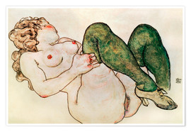 Poster Premium  Nude with green stockings - Egon Schiele