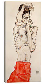 Tela  Male nude, standing, with red loincloth - Egon Schiele