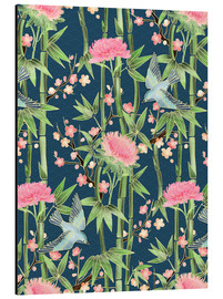 Stampa su alluminio  bamboo birds and blossoms on teal - Micklyn Le Feuvre