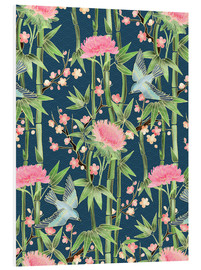 Stampa su schiuma dura  bamboo birds and blossoms on teal - Micklyn Le Feuvre