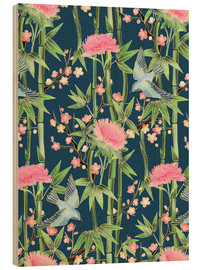 Legno  bamboo birds and blossoms on teal - Micklyn Le Feuvre