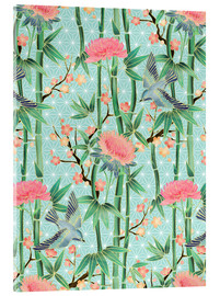 Stampa su vetro acrilico  bamboo birds and blossoms on mint - Micklyn Le Feuvre