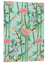 Forex  bamboo birds and blossoms on mint - Micklyn Le Feuvre