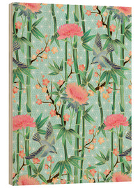 Stampa su legno  bamboo birds and blossoms on mint - Micklyn Le Feuvre