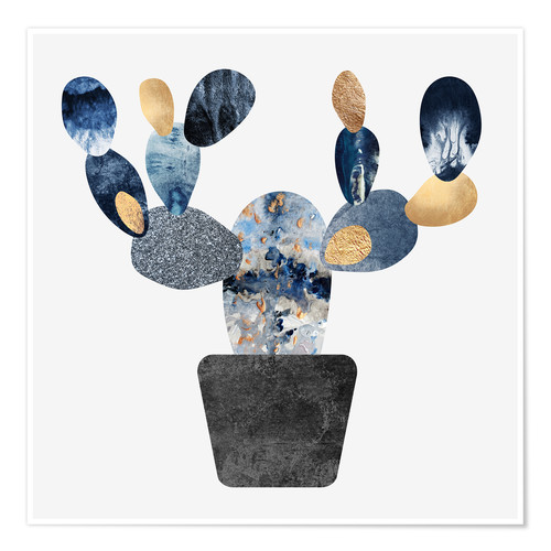 Poster Premium Blue And Gold Cactus