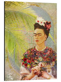 Alluminio Dibond  Frida Kahlo With Deer - Moon Berry Prints