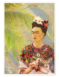 Poster  Frida Kahlo con cervo - Moon Berry Prints