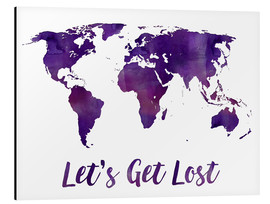 Alluminio Dibond  World map purple - Mod Pop Deco
