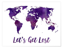 Poster World map purple