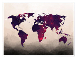 Poster  World Map Reddish Purple - Mod Pop Deco