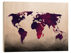 Legno  World Map Reddish Purple - Mod Pop Deco