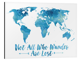 Alluminio Dibond  World Map Watercolor Blue - Mod Pop Deco