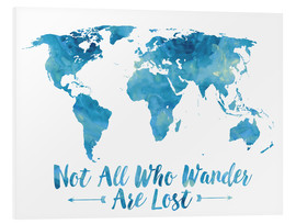 Forex  World Map Watercolor Blue - Mod Pop Deco