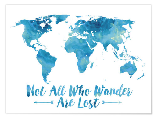 Poster World Map Watercolor Blue