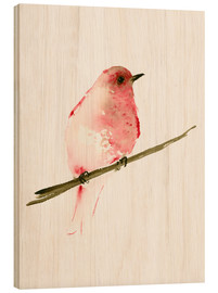 Stampa su legno  Rasberry red bird - Dearpumpernickel