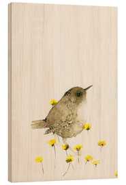 Stampa su legno  Wren and yellow flowers - Dearpumpernickel