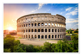 Poster Premium Coliseum in Rome Italy at sunset