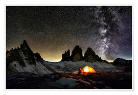 Poster Premium  Loneley camper with Milky Way at Dolomites - Dieter Meyrl