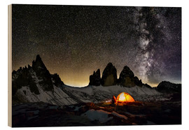 Stampa su legno  Loneley camper with Milky Way at Dolomites - Dieter Meyrl