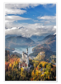 Poster Premium  Neuschwanstein Castle at Autumn - Dieter Meyrl