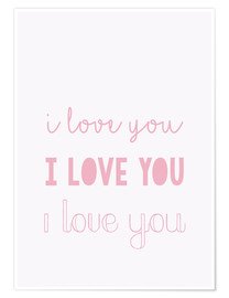Poster Premium I love you - Ti amo, pastello