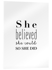 Stampa su vetro acrilico  She believed she could - Finlay and Noa