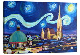 Stampa su tela  Starry Night in Vienna Austria   Saint Stephan Cathedral Van Gogh Inspirations - M. Bleichner