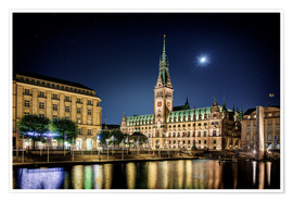 Poster Premium  Moon over the town hall in Hamburg - Tanja Arnold Photography