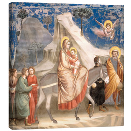 Stampa su tela  The Flight to Egypt - Giotto di Bondone