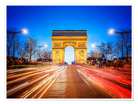 Poster Premium Arc de Triomphe and Champs-Elysees at night in Paris France