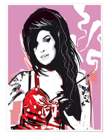 Poster  alternative amy winehouse pop style illustration - 2ToastDesign