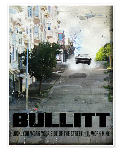 Poster Premium alternative bullitt retro movie poster