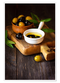 Poster Green and black olives