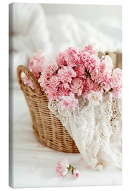 Tela  Pink Pastel Flowers in wicker basket