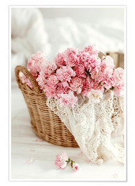 Poster  Pink Pastel Flowers in wicker basket