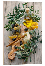Stampa su legno  Green and black olives with bottle of olive oil