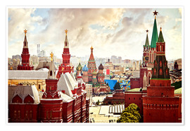 Poster  Aerial view of the Kremlin in Moscow, Red Square