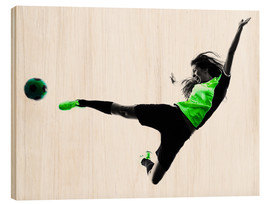 Stampa su legno  Female Footballer jumping