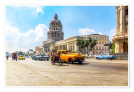 Poster  Havana Capitol with Oldtimer - Reemt Peters-Hein