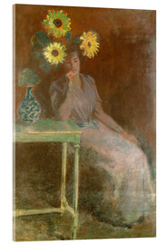 Stampa su vetro acrilico  Sedentary woman next to a vase with sunflowers - Claude Monet