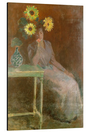 Alluminio Dibond  Sedentary woman next to a vase with sunflowers - Claude Monet