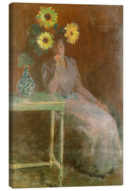 Stampa su tela  Sedentary woman next to a vase with sunflowers - Claude Monet