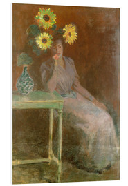 Stampa su schiuma dura  Sedentary woman next to a vase with sunflowers - Claude Monet