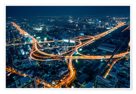 Poster Premium  Aerial view of Bangkok at night - Jan Christopher Becke