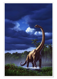 Poster  A Brachiosaurus in a swamp - Jerry LoFaro