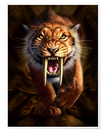 Poster  Full on view of a Saber-toothed Tiger - Jerry LoFaro