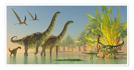 Poster  Deinocheirus dinosaurs watch a group of Argentinosaurus walk through shallow waters. - Corey Ford