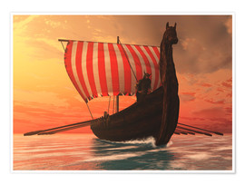 Poster Premium  A Viking longboat sails to new shores - Corey Ford